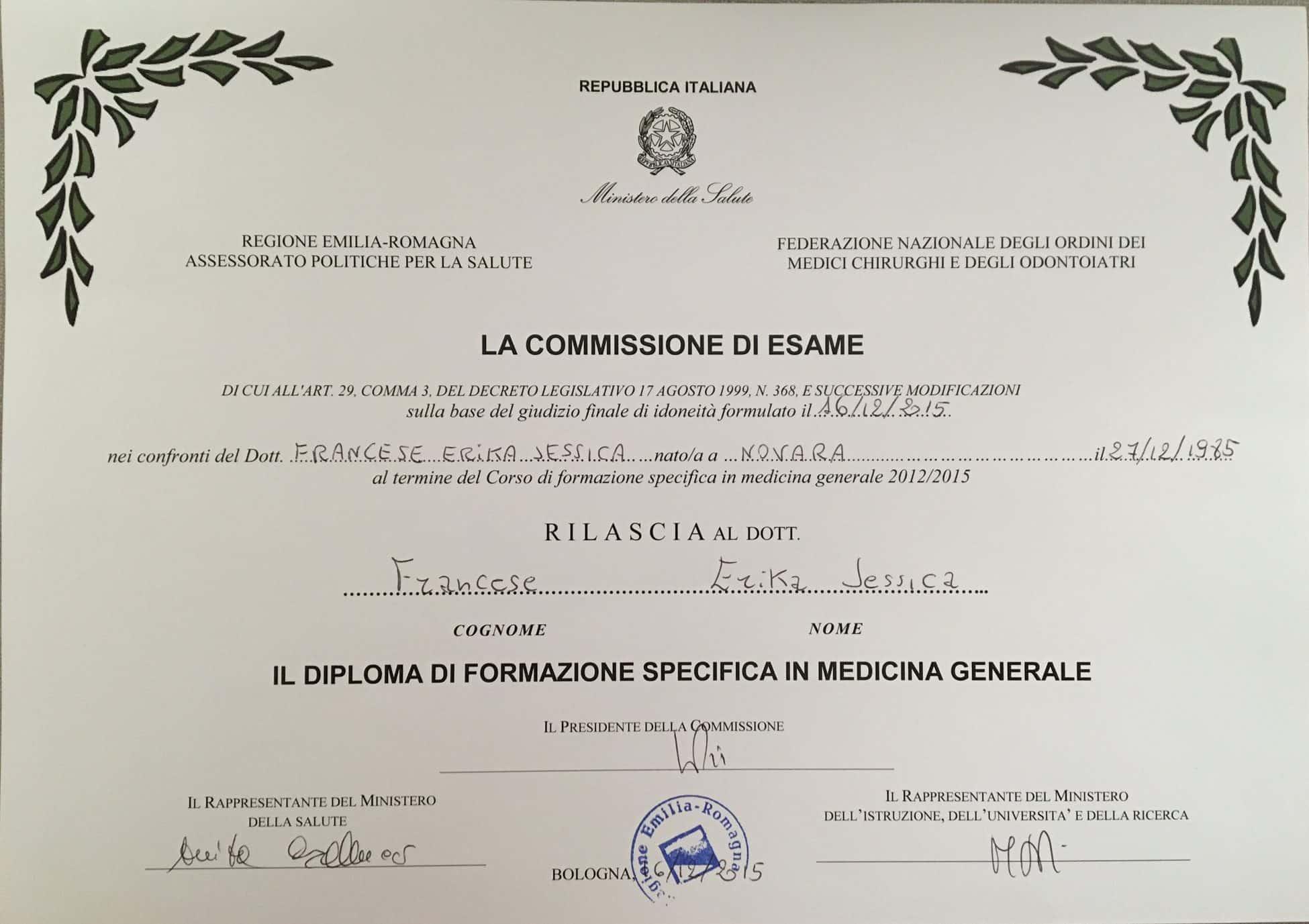Diploma formazione specifica in Medicina Generale