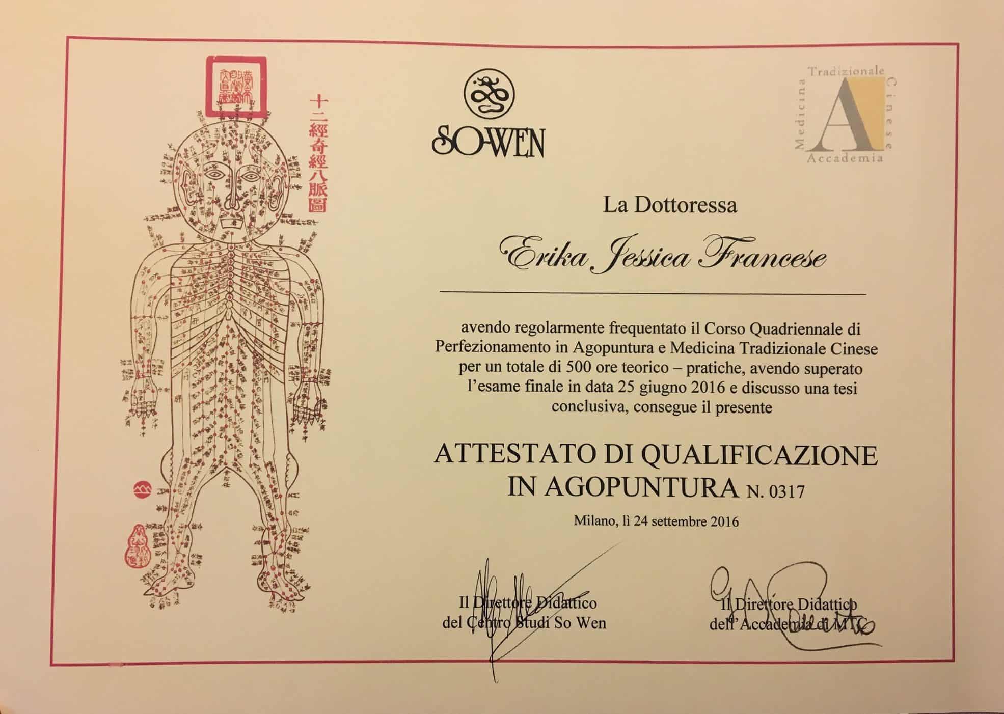 Diploma in Agopuntura e Medicina Tradizionale