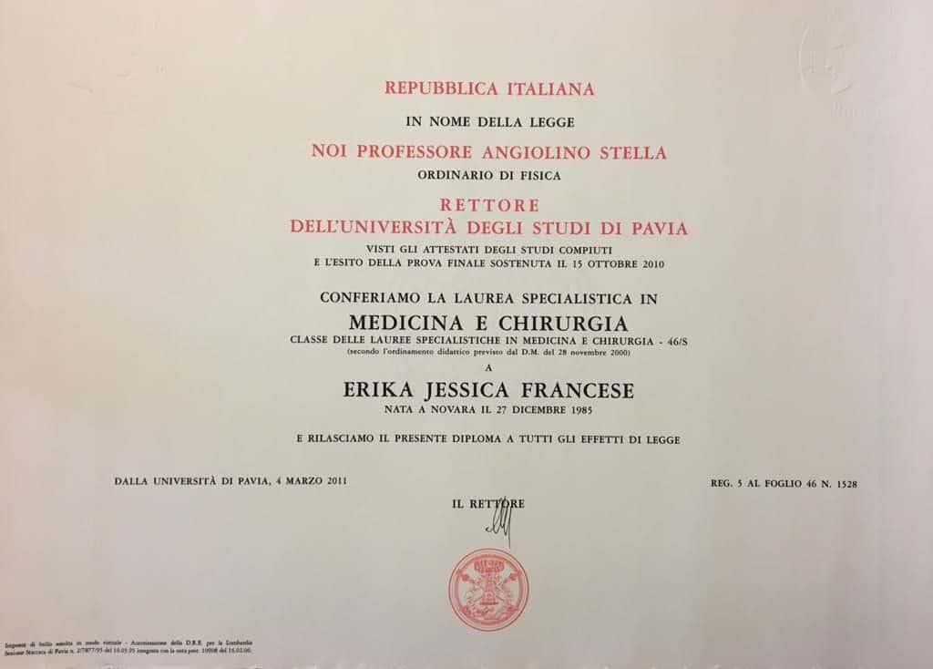 diploma di Laurea Erika Francese